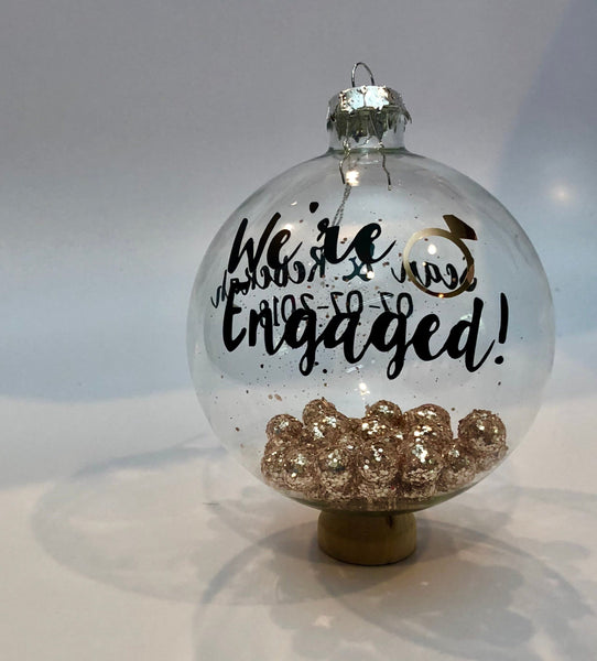 We're Engaged personalized glass ornament