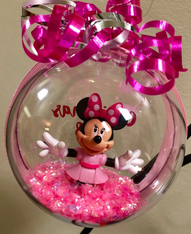 Minnie Mouse Christmas Pink Ornament