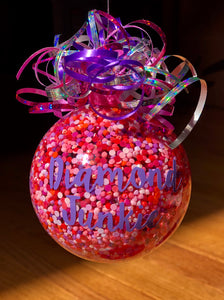 """Diamond Junky"" glass ornament"