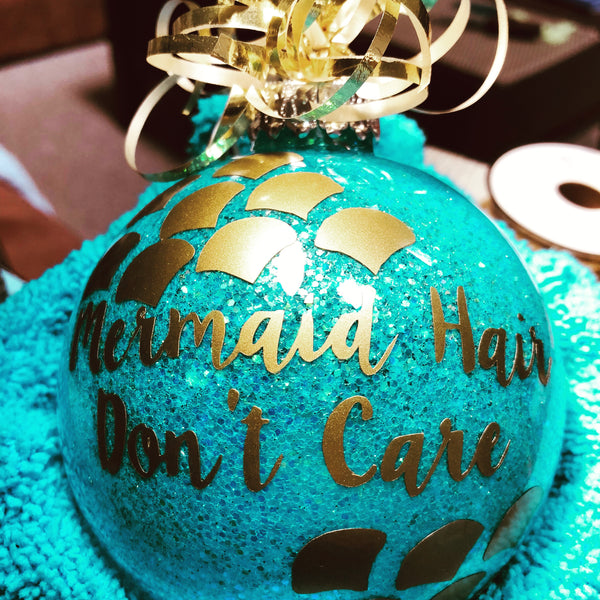 Mermaid Hair Don't Care glass ornament - Disk shape