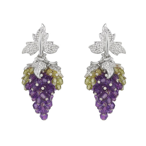 Tuscany Earrings Amethyst and Peridot by Tina Ashmore Luxury Jewelry