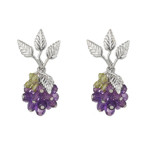 Wild Berry Earrings Amethyst and Peridot by Tina Ashmore Luxury Jewelry