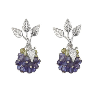 Wild Berry Earrings Blue Iolite and Peridot by Tina Ashmore Luxury Jewelry