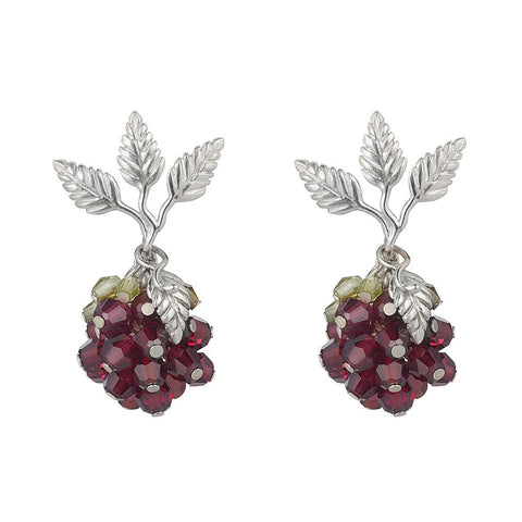 Wild Berry Earrings Garnet and Peridot by Tina Ashmore Luxury Jewelry