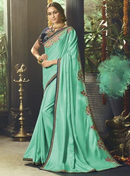 38938f87e72f1 Rama Green Silk Party Saree – Lakshh