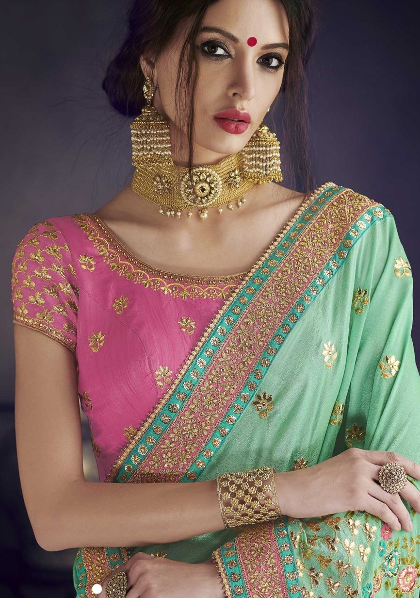 617c9e2e1277d Mint Green Saree With Pink Blouse – Lakshh