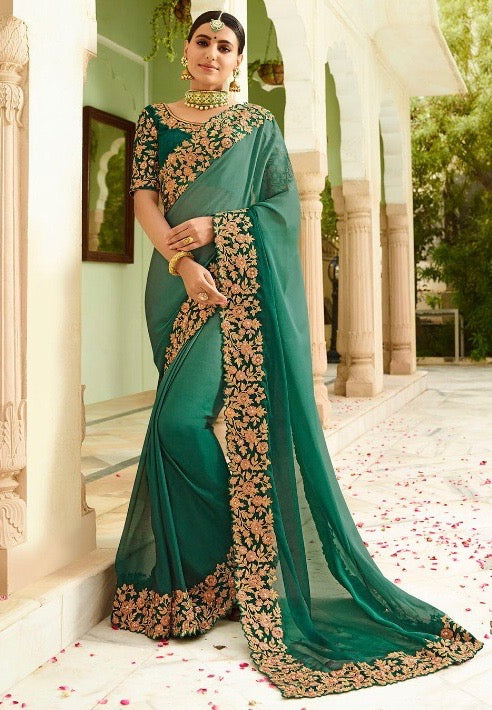 e4f3511c7ef3e Green Silk Saree With Blouse