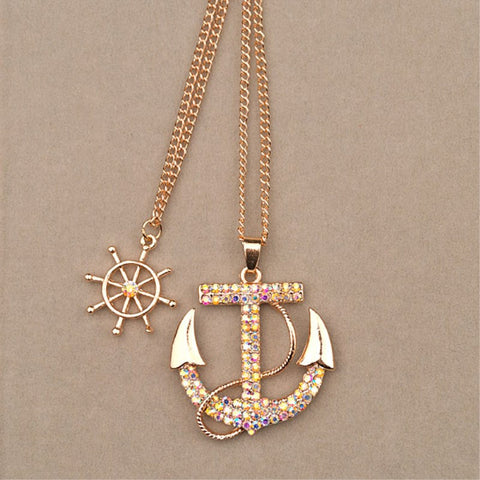 Navy Crystal Rhinestone Anchor Rudder Necklace