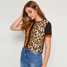 Load image into Gallery viewer, SHEIN Color Block Cut-and-Sew Leopard Panel Top Short Sleeve O-Neck Casual T Shirt Women 2019 Summer Leisure Ladies Tshirt Tops - 350 Graphic Design