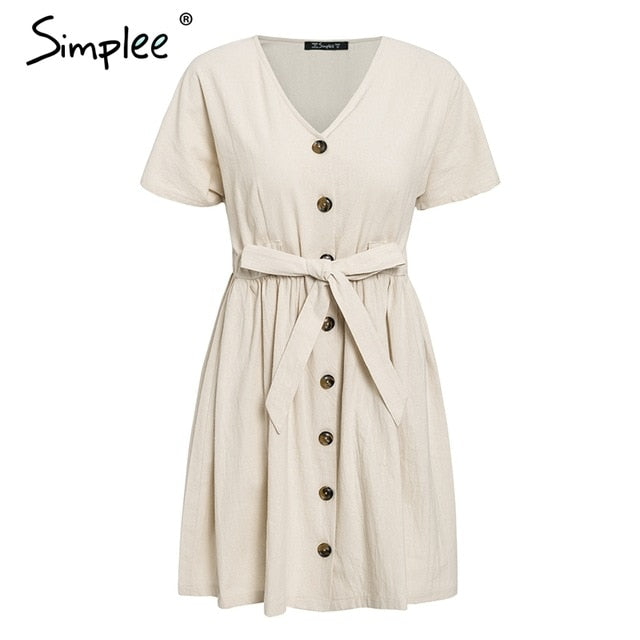 Simplee Vintage button women dress shirt V neck short sleeve cotton linen short summer dresses Casual korean vestidos 2019 festa - 350 Graphic Design