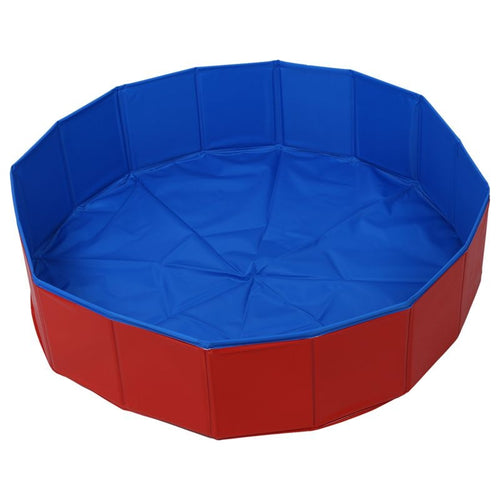 Foldable Pet Dog Swimming House Bed Summer Pool Blue+Red - 350 Graphic Design