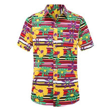Load image into Gallery viewer, 2019 New Summer Mens Short Sleeve Beach Hawaiian Shirts Cotton Casual Floral Shirts Regular Plus Size 3XL Mens clothing Fashion - 350 Graphic Design