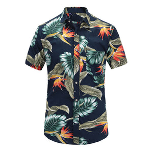Plus Size 5XL 2019 New Summer Mens Short Sleeve Hawaiian Shirts Cotton Casual Floral Shirts Wave Regular Mens Clothing Fashion - 350 Graphic Design
