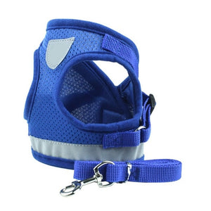 Dog Cat Harness Pet Adjustable Reflective Vest Walking Lead Leash for Puppy Polyester Mesh Harness for Small Medium Dogs - 350 Graphic Design