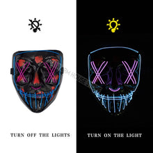 Load image into Gallery viewer, Halloween Mask LED Maske Light Up Party Masks Neon Maska Cosplay Mascara Horror Mascarillas Glow In Dark Masque V for Vendetta - 350 Graphic Design