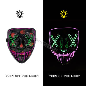 Halloween Mask LED Maske Light Up Party Masks Neon Maska Cosplay Mascara Horror Mascarillas Glow In Dark Masque V for Vendetta - 350 Graphic Design