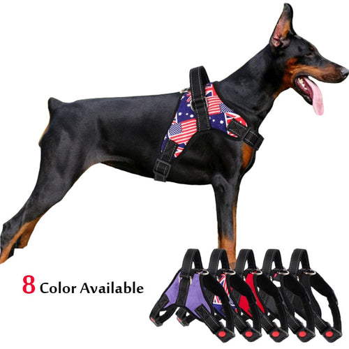 Medium Large Dog Harness Nylon Reflective Collar Vest Harnesses For Dogs Training Husky Alaskan Bulldog Breast-band Belt Lead - 350 Graphic Design