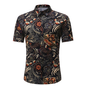 Men Shirt Summer Style Palm Tree Print Beach Hawaiian Shirt Men Casual Short Sleeve Hawaii Shirt Chemise Homme Asian Size 3XL - 350 Graphic Design