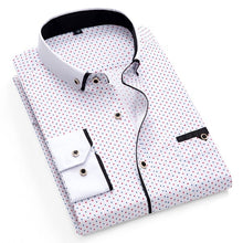 Load image into Gallery viewer, Printed Plaid Polka Dot Men Shirt Long-Sleeved Casual Shirts For Men Slim Fit 21 Colors Male Dress Shirts Camisas Masculina - 350 Graphic Design