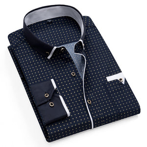 Printed Plaid Polka Dot Men Shirt Long-Sleeved Casual Shirts For Men Slim Fit 21 Colors Male Dress Shirts Camisas Masculina - 350 Graphic Design