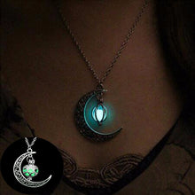 Load image into Gallery viewer, FAMSHIN 2019 New Hot Moon Glowing Necklace,Gem Charm Jewelry,Silver Plated,Women Halloween Hollow Luminous Stone Necklace Gifts - 350 Graphic Design