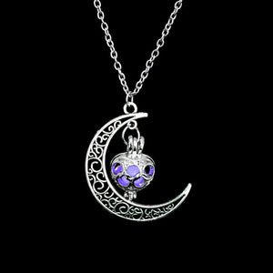 FAMSHIN 2019 New Hot Moon Glowing Necklace,Gem Charm Jewelry,Silver Plated,Women Halloween Hollow Luminous Stone Necklace Gifts - 350 Graphic Design