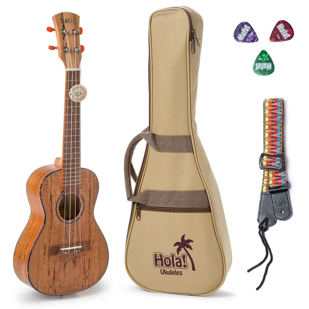 Tenor Ukulele Deluxe Series by Hola! Music (Model HM-127SM+), Bundle Includes: 27 Inch Spalted Maple Ukulele with Aquila Nylgut Strings Installed, Padded Gig Bag, Strap and Picks - Limited Edition