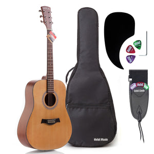 "Acoustic Dreadnought Guitar Bundle with D'Addario Steel Strings, Padded Bag, Guitar Strap & Picks, Full Size 41"" (Model HG-41N), Natural Satin Finish"