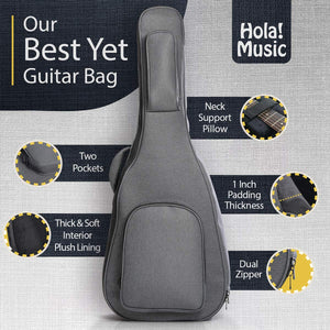 Professional Acoustic and Classical Guitars Gig Bag Soft Case , Pro Series with 25mm (1 Inch) Padding, Full Size (41 Inch), Gray