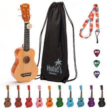 Load image into Gallery viewer, HM-21NT Soprano Ukulele Bundle with Canvas Tote Bag, Strap and Picks, Color Series - Natural/Mahogany