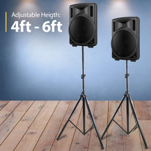 Load image into Gallery viewer, *PAIR* PA Speaker Stands , Professional Tripod Structure, 4-6ft Adjustable Height, Model HPS-200PA