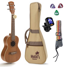 "Load image into Gallery viewer, Mahogany Concert Ukulele Bundle, Model HM-124MG+, Includes: 24"" Ukulele with Aquila Nylgut Strings Installed, Clip-on Tuner, Padded Bag, Strap & Picks"