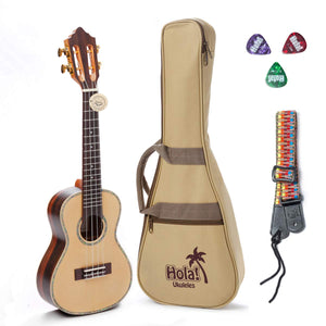 "Professional Concert Ukulele Model HM-424SSR+, Includes: 24"" SOLID Spruce Top Ukulele with Aquila Nylgut Strings Installed, Padded Bag, Strap & Picks"