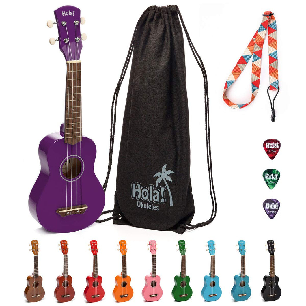 HM-21PP Soprano Ukulele Bundle with Canvas Tote Bag, Strap and Picks, Color Series - Purple