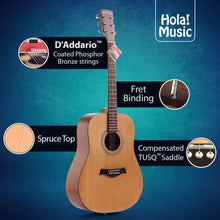 "Load image into Gallery viewer, Acoustic Dreadnought Guitar Bundle with D'Addario Steel Strings, Padded Bag, Guitar Strap & Picks, Full Size 41"" (Model HG-41N), Natural Satin Finish"
