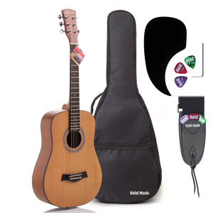 "3/4 Size 36"" Acoustic Guitar Bundle Junior/Travel Size, D'Addario EXP16 Steel Strings, Padded Bag, Guitar Strap & Picks, HG-36N Natural Satin Finish"