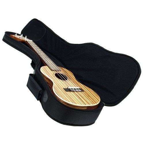 Heavy Duty CONCERT Ukulele Gig Bag (up to 24 Inch) with 15mm Padding, Black