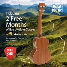 "Load image into Gallery viewer, LEFT HANDED Concert Ukulele Bundle (Model HM-124LFT+) Includes: 24"" Mahogany Ukulele with Aquila Nylgut Strings Installed, Padded Bag, Strap & Picks"
