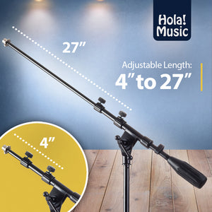 HPS-101RB Professional Microphone Boom Stand with Round Base, Black