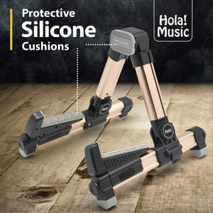 Portable Folding Ukulele Stand by Hola! Music - Gold Aluminum