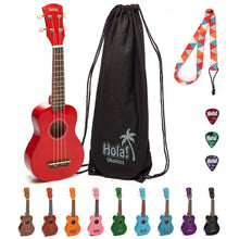 Load image into Gallery viewer, HM-21RD Soprano Ukulele Bundle with Canvas Tote Bag, Strap and Picks, Color Series - Red