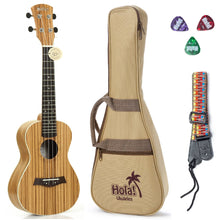 "Load image into Gallery viewer, Deluxe ZEBRA Tenor Ukulele (Model HM-127ZW+), Includes: 27"" Ukulele with Aquila Nylgut Strings Installed, Padded Bag, Strap & Picks - Limited Edition"