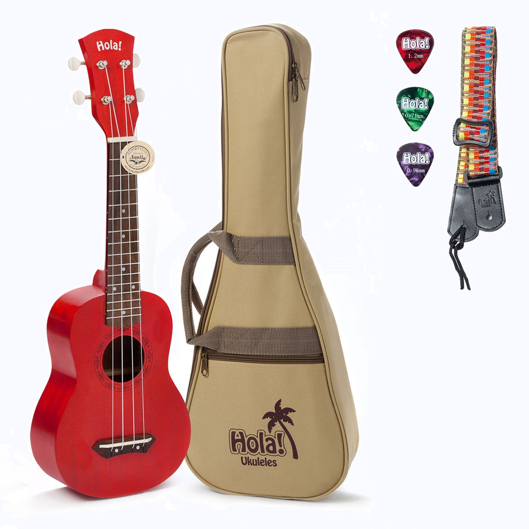 HM-121RD+ Deluxe Mahogany Soprano Ukulele Bundle with Aquila Strings, Padded Gig Bag, Strap and Picks - Red