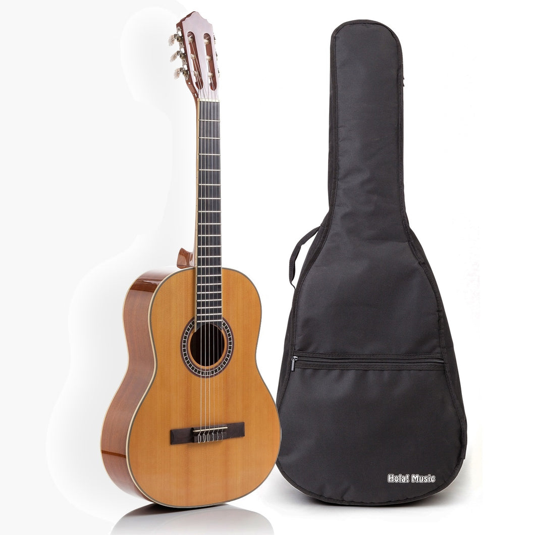Classical Guitar with Savarez Nylon Strings, Full Size 39 Inch Model HG-39GLS, Natural Gloss Finish - FREE Padded Gig Bag Included