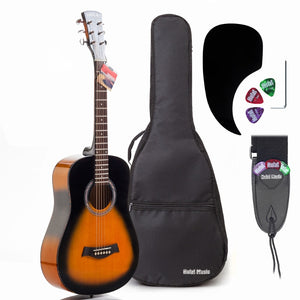 "3/4 Size 36"" Acoustic Guitar Bundle Junior/Travel Size with D'Addario EXP16 Steel Strings, Padded Bag, Guitar Strap & Picks - HG-36SB Vintage Sunburst"