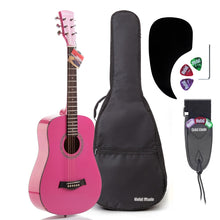 "Load image into Gallery viewer, 3/4 Size 36"" Acoustic Guitar Bundle Junior/Travel Size with D'Addario EXP16 Steel Strings, Padded Bag, Guitar Strap & Picks - HG-36PK Glossy Pink"