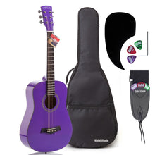 "Load image into Gallery viewer, 3/4 Size 36"" Acoustic Guitar Bundle Junior/Travel Size with D'Addario EXP16 Steel Strings, Padded Bag, Guitar Strap & Picks - HG-36PP Glossy Purple"