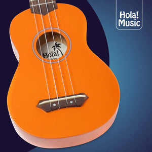 HM-21OR Soprano Ukulele Bundle with Canvas Tote Bag, Strap and Picks, Color Series - Orange