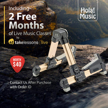 Load image into Gallery viewer, Portable Folding Ukulele Stand by Hola! Music - Gold Aluminum