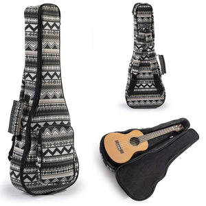 Heavy Duty CONCERT Ukulele Gig Bag (up to 24 Inch) with 12mm Padding and Shoulder Straps, Black&White